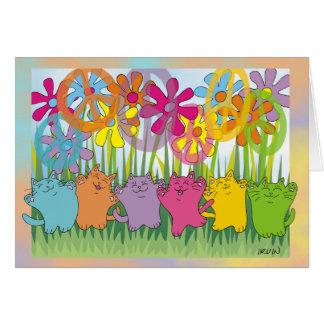 幸運のフラワーパワーの平和猫 カード