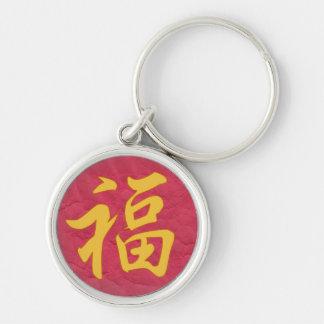 幸運の漢字Keychain シルバーカラー丸型キーホルダー