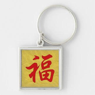 幸運の漢字Keychain シルバーカラー正方形キーホルダー