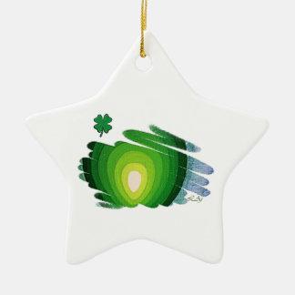 幸運の緑エネルギーらせん状の星のオーナメント セラミックオーナメント