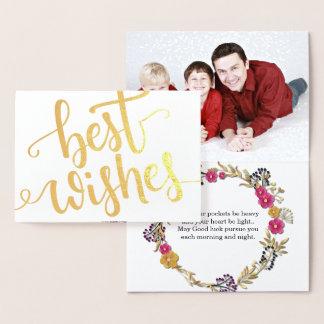 幸運を祈りますの金ゴールドホイルは文字の家族写真の台本を書きました 箔カード