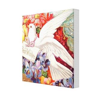 幸運を祈りますの鳩のバラのヴィンテージの芸術のキャンバスプリント キャンバスプリント