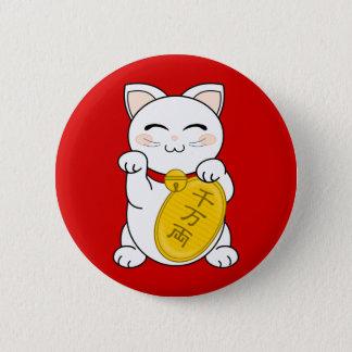 幸運猫- Maneki Neko 5.7cm 丸型バッジ
