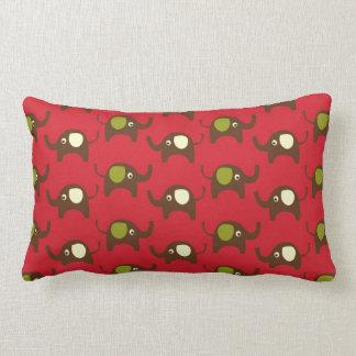 幸運象のかわいいの赤くかわいい動物パターン ランバークッション