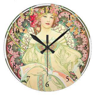 幻想のシャンペン広告アルフォンス島のミュシャ ラージ壁時計