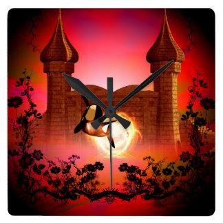 幻想の世界のおもしろいな、跳躍のシャチ スクエア壁時計