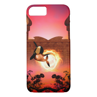 幻想の世界のおもしろいな、跳躍のシャチ iPhone 8/7ケース