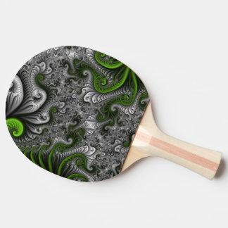 幻想の世界緑および灰色の抽象的なフラクタルの芸術 卓球ラケット