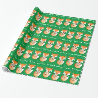 幼いこどもの冬の芸術の挨拶のクリスマスの緑の覆いを孤色に変色させて下さい ラッピングペーパー