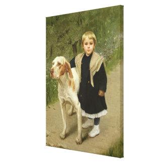 幼児および大きい犬(キャンバスの油) キャンバスプリント