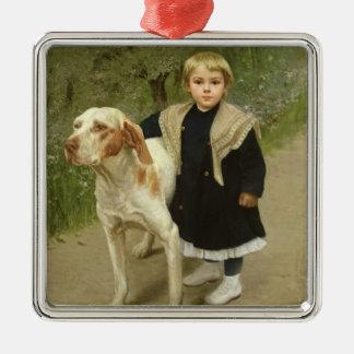 幼児および大きい犬(キャンバスの油) メタルオーナメント