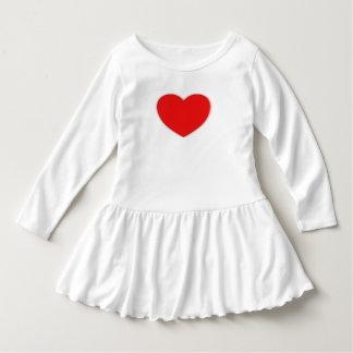幼児によって波立たせられる服のサイズ4/5Tのハートのイメージ ドレス