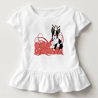 幼児のボストンテリアのクリスマスのひだのワイシャツ トドラーTシャツ
