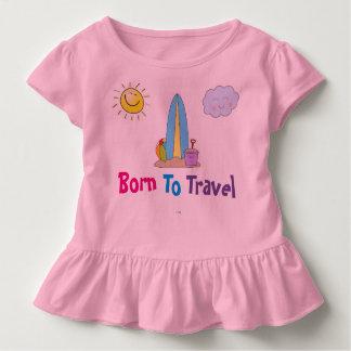 """幼児の女の子のひだの""""走行するために"""" Tシャツ生まれて下さい トドラーTシャツ"""