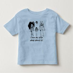 幼児のTシャツ、青I愛に私の人形ヴードゥー教の呪いをかけて下さい トドラーTシャツ