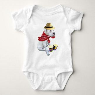 幼児ボンゴを持つ白人のボクサー ベビーボディスーツ