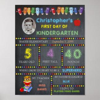 幼稚園の印の写真の最初日、黒板 ポスター