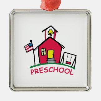 幼稚園 シルバーカラー正方形オーナメント