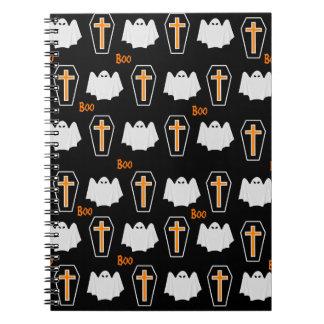 幽霊および箱のハロウィンパターン ノートブック