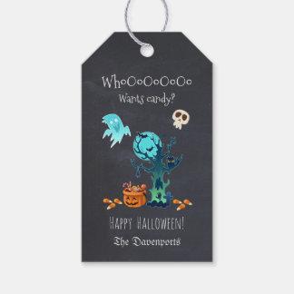 幽霊のこうもりスカル及びキャンデーとのハッピーハローウィン ギフトタグ