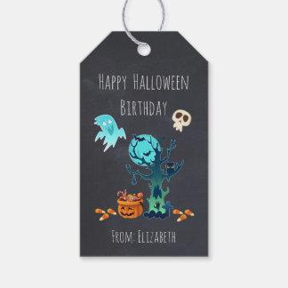 幽霊のこうもりスカル及びキャンデーとのハロウィンの誕生日 ギフトタグ