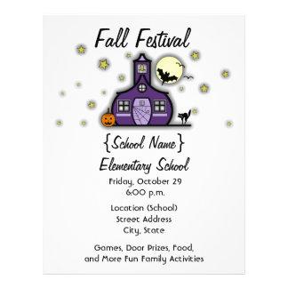 幽霊のよく出るな校舎の学校のハロウィンの秋のフェスティバル チラシ
