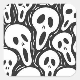 幽霊のスカル スクエアシール