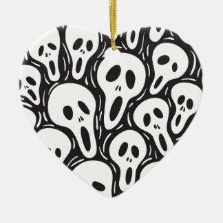 幽霊のスカル 陶器製ハート型オーナメント