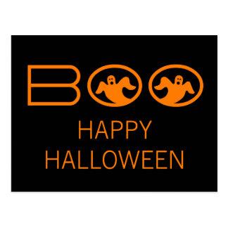 幽霊のブーイングのハロウィンの郵便はがき、黒およびオレンジ ポストカード