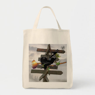 幽霊の月のハロウィンのバッグを追跡している魔法使い トートバッグ