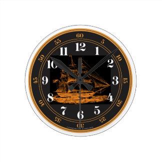 幽霊の船の航海のな時計 ラウンド壁時計