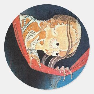 幽霊、北斎の幽霊、Hokusaiの浮世絵 丸型シール