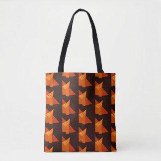 幾何学的でかわいいOrigamiのキツネパターン トートバッグ