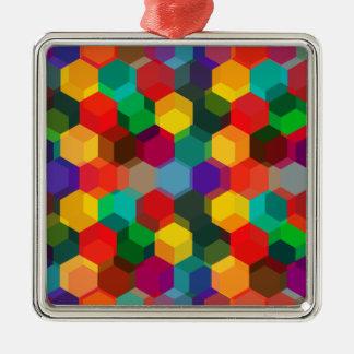 幾何学的でグラデーションな虹の六角形 メタルオーナメント