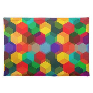 幾何学的でグラデーションな虹の六角形 ランチョンマット