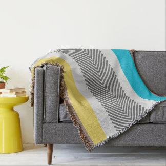 幾何学的で抽象的な黄色および水のモダンパターン 毛布