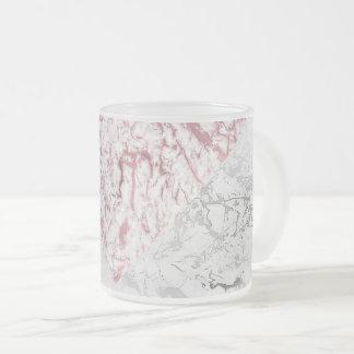 幾何学的で白い灰色の銀製のピンクの金ゴールドの大理石 フロストグラスマグカップ
