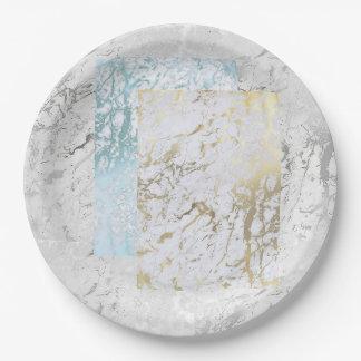 幾何学的で白い灰色の銀製の金ゴールドの青石の大理石 ペーパープレート