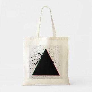 幾何学的で黒い三角形のペンキの(ばちゃばちゃ)跳ねる トートバッグ