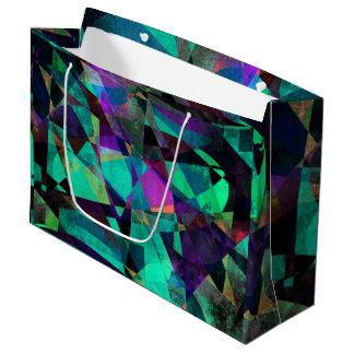 幾何学的で、カラフルで、汚い抽象美術 ラージペーパーバッグ