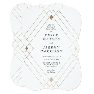 幾何学的なアールデコの白いGatsbyの結婚式招待状 12.7 X 17.8 インビテーションカード