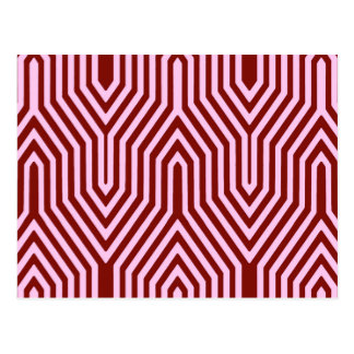 幾何学的なアールデコ-バーガンディおよびピンク ポストカード