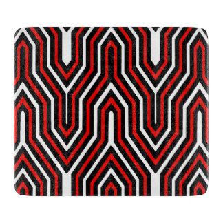 幾何学的なアールデコ-白黒赤 カッティングボード