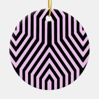 幾何学的なアールデコ-黒およびピンク セラミックオーナメント