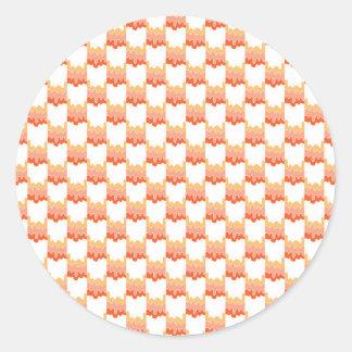 幾何学的なオレンジさざ波 ラウンドシール