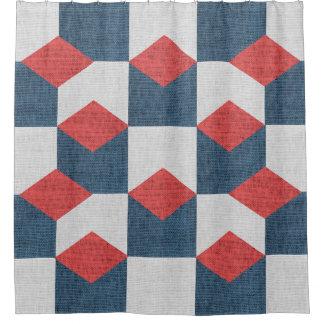 幾何学的なオーシャンブルーの赤く航海のなシャワー・カーテン シャワーカーテン