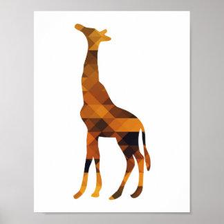 幾何学的なキリンのシルエットポスター ポスター