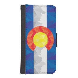 幾何学的なコロラド州の旗の私電話財布 iPhoneSE/5/5sウォレットケース