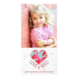 幾何学的なハートのバレンタインデーの写真カード カード
