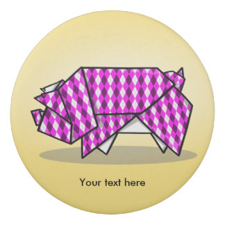 幾何学的なパターンかわいいピンクのOrigamiのブタ 消しゴム